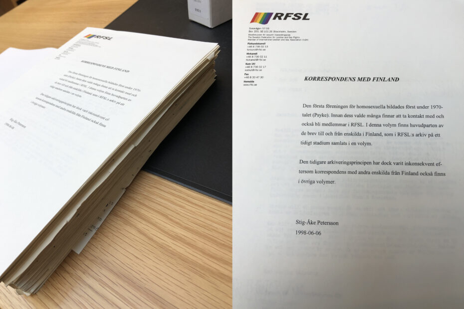 """Paperipino, jossa päälimmäisenä sateenkaarella ja RFSL:n logolla varustettu kirje otsikolla """"Korrespondens med Finland"""""""