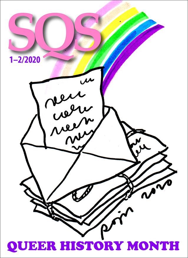 SQS-kansikuva 1-2/2020: Queer History Month. Kannessa piirros kirjepinosta, joista nousee sateenkaari.