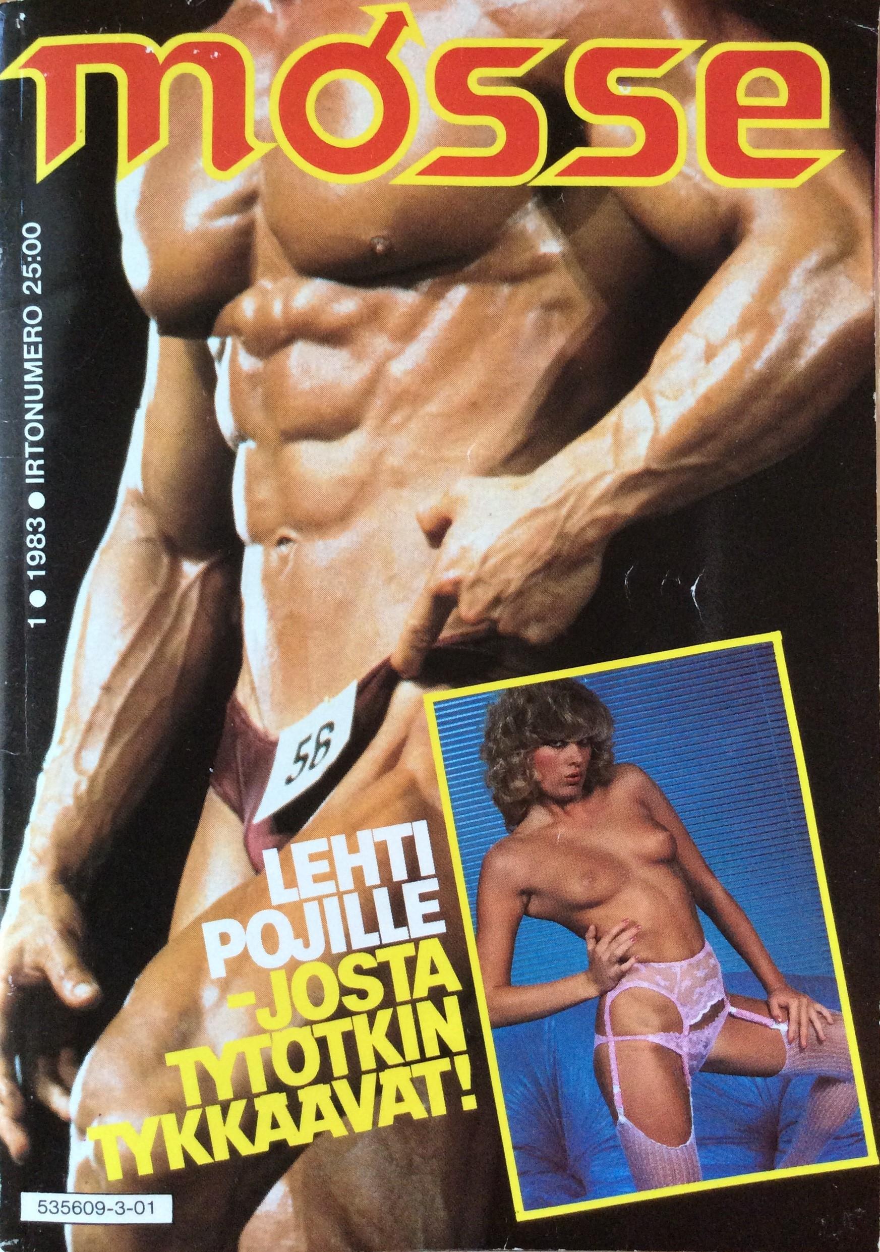 Mosse-lehden kansi, numero 1 vuodelta 1983. Kansikuvassa kehorakentajan paljas torso ja sen päällä pienempi valokuva henkilöstä, jolla yllään vain vaaleanpunaisen pitsialusasun alaosa ja jonka rinnat ovat paljaina.