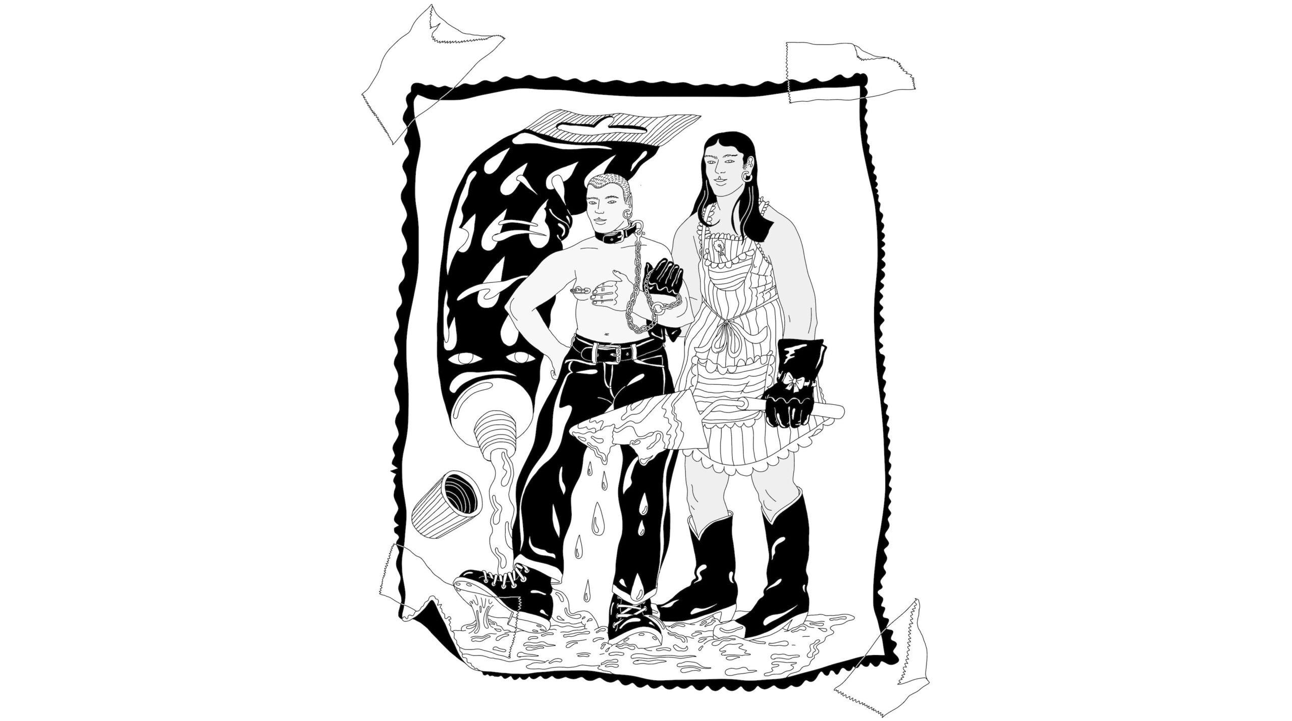 Edith Hammarin tussipiirros, seinään teipatusta kuvasta, jossa kaksi henkilöä seisovat suuresta tuubista valuvassa nesteessä. Ensimmäinen henkilöistä on yläosattomissa ja toisella on esiliina, ja hän pitää ensimmäistä henkilöä kaulahihnassa.